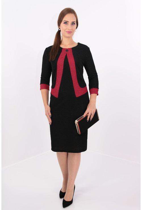 Rochie neagra cu garnitura rosie