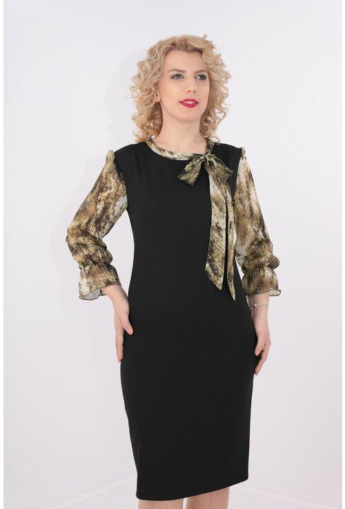 Rochie neagra cu maneci si esarfa din voal cu print olive