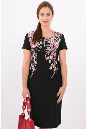 Rochie neagra cu print floral rosu si alb