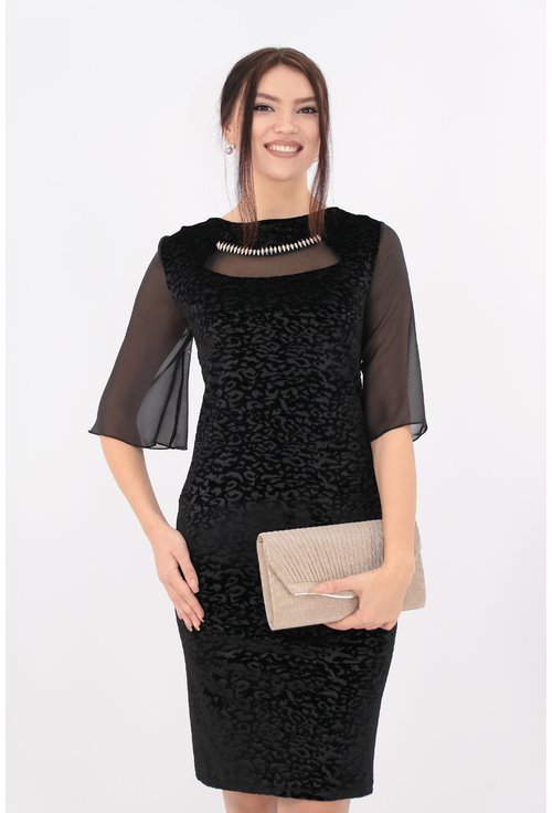 Rochie neagra din catifea cu maneci din voal