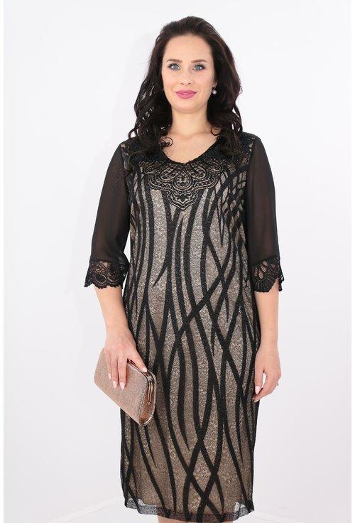 Rochie neagra din dantela cu dungi verticale