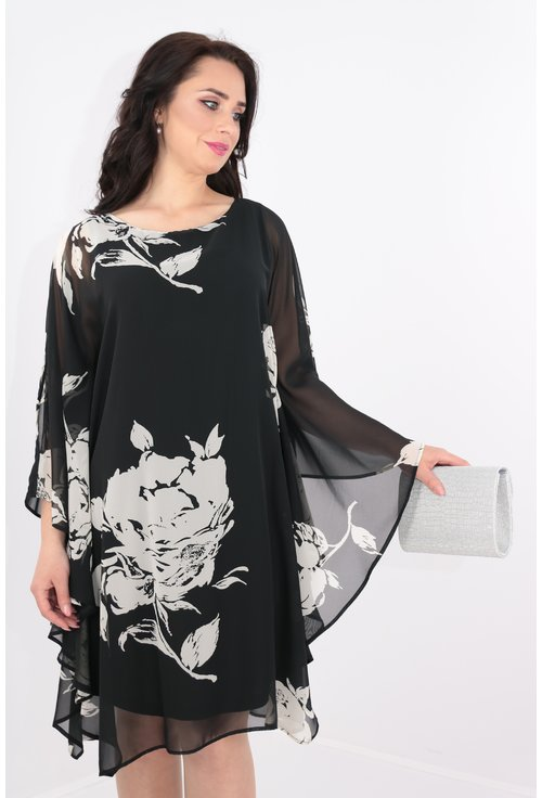 Rochie neagra din voal cu print floral alb