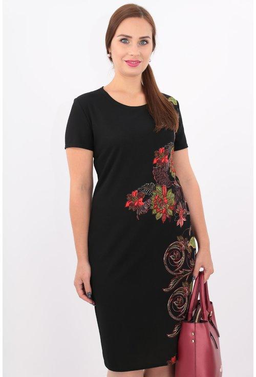 Rochie neagra dreapta din jerse cu print floral