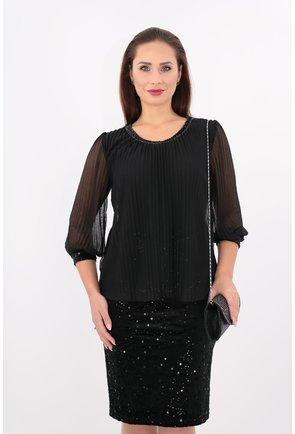 Rochie neagra eleganta din voal plisat si catifea