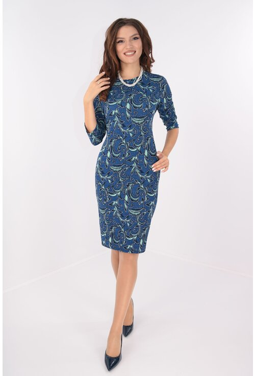 Rochie office albastra cu print floral turcoaz