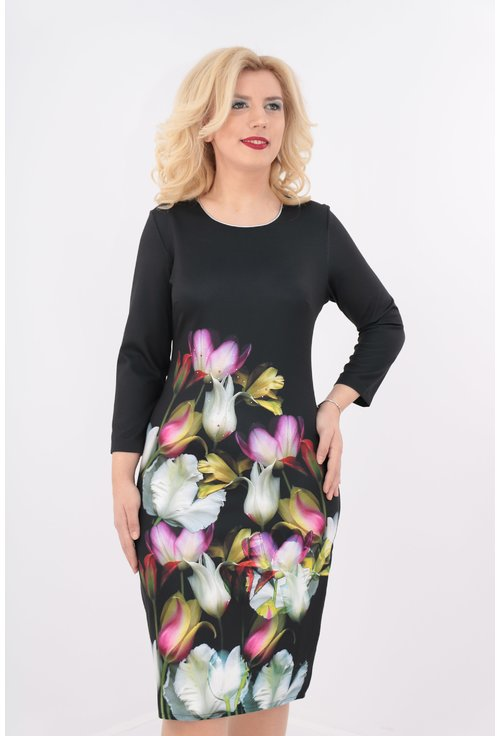 Rochie office dreapta din stofa neagra cu print floral