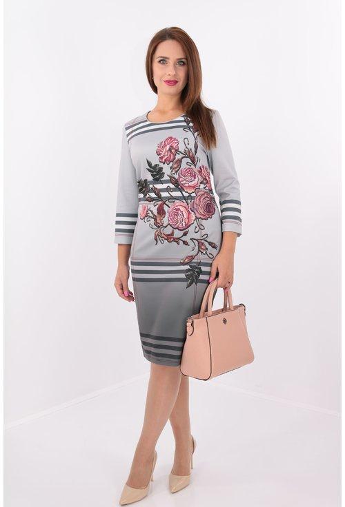 Rochie office dreapta gri cu dungi si flori roz