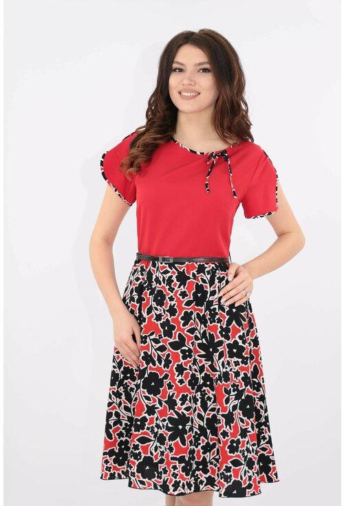 Rochie rosie cu print floral