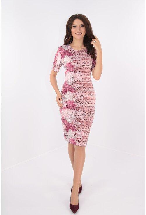 Rochie roz cu desen floral vertical