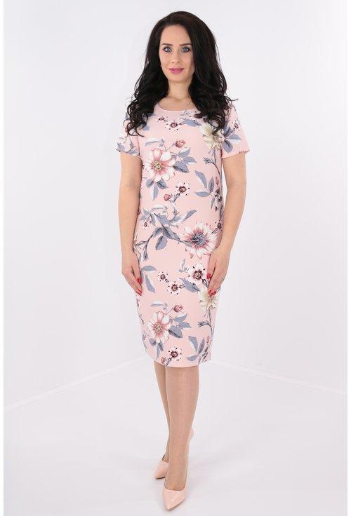 Rochie roz cu print floral maxi