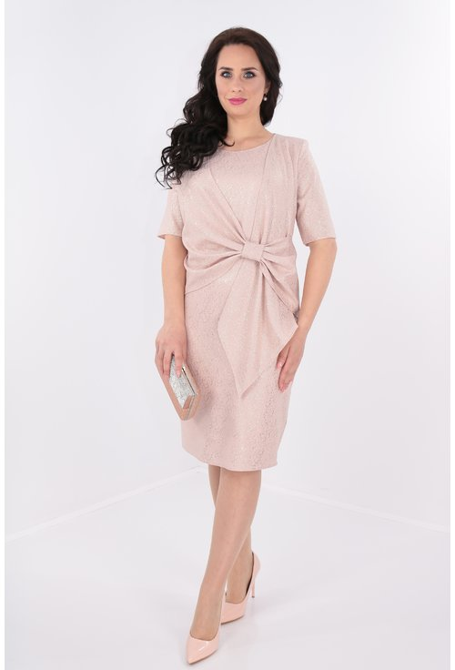 Rochie roz pudra cu sclipici si drapaj tip funda