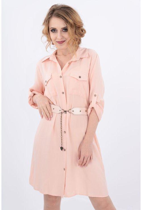 Rochie roz tip camasa cu curea