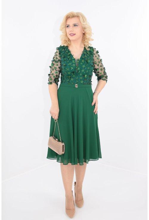 Rochie verde cu dantela 3D