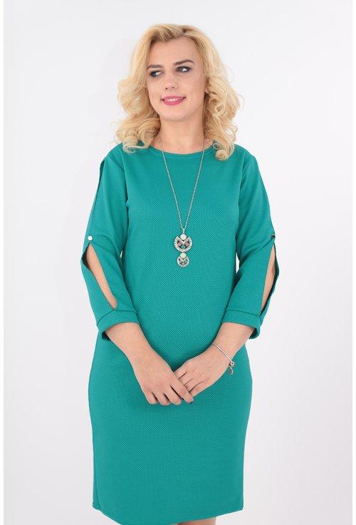 Rochie verde cu decupaj pe maneci