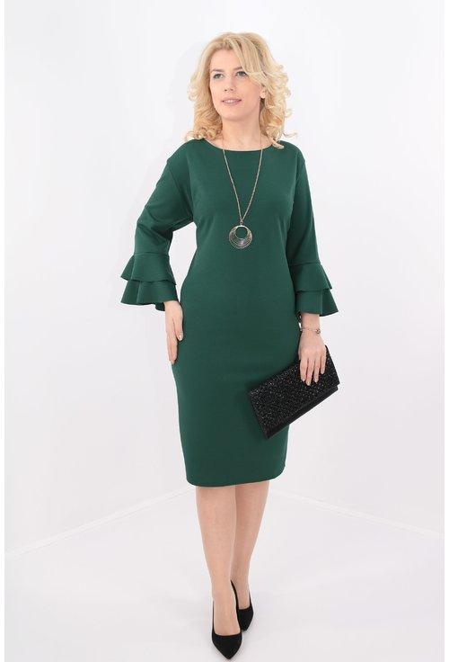 Rochie verde cu maneci cu volane suprapuse