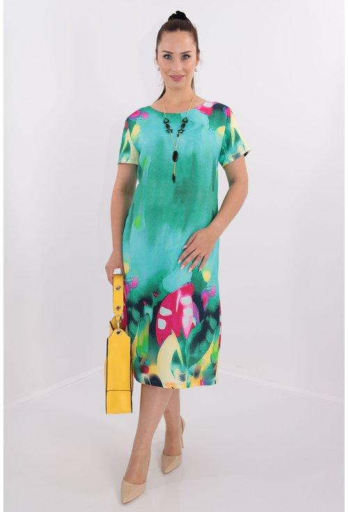Rochie verde cu print multicolor