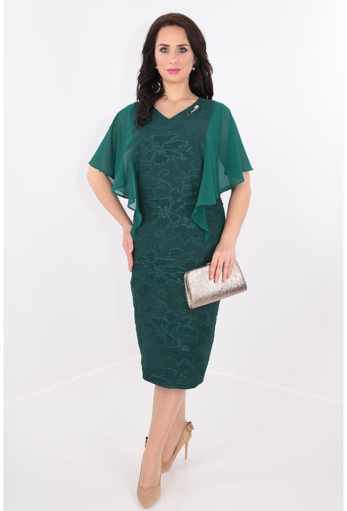 Rochie verde din brocard si voal