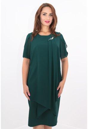 Rochie verde din stofa subtire si voaluri suprapuse