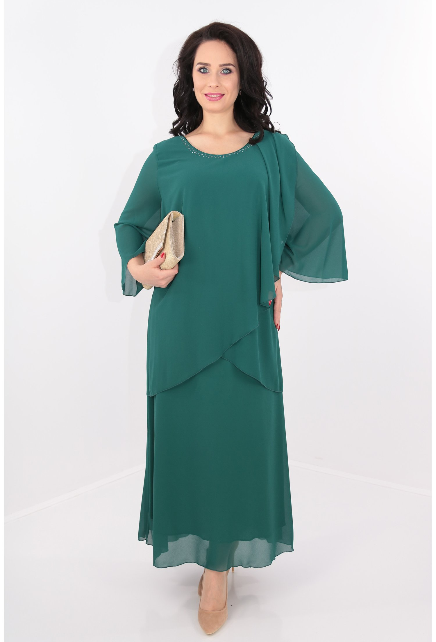 Rochie verde din voal cu strasuri argintii