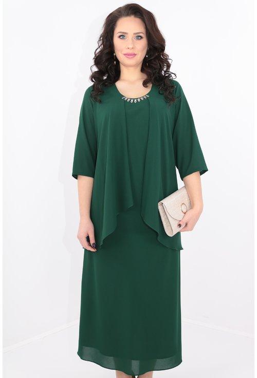 Rochie verde inchis din triplu voal