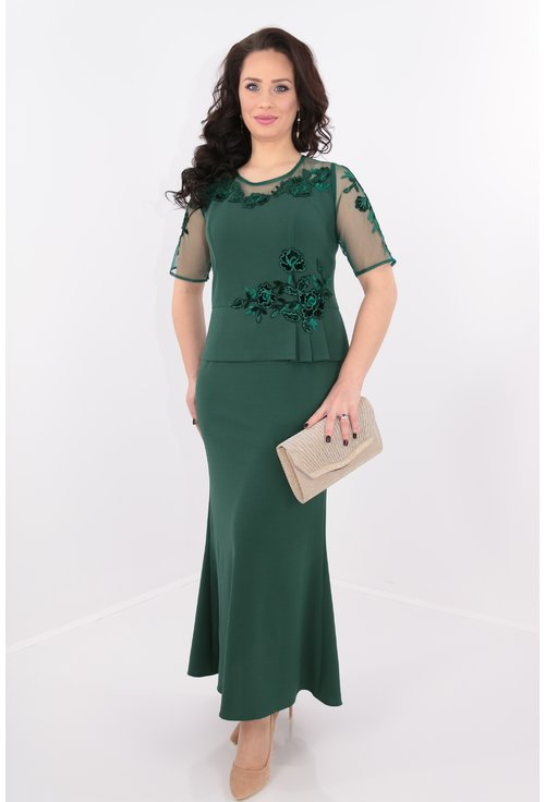 Rochie verde lunga cu dantela si paiete