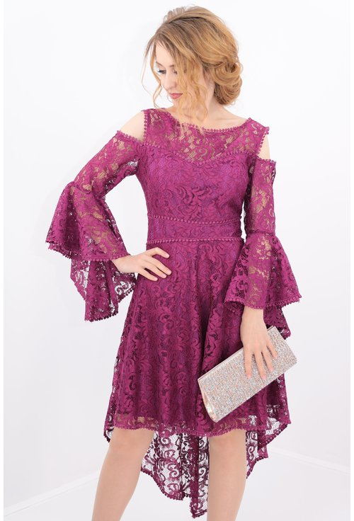 Rochie violet asimetrica din dantela