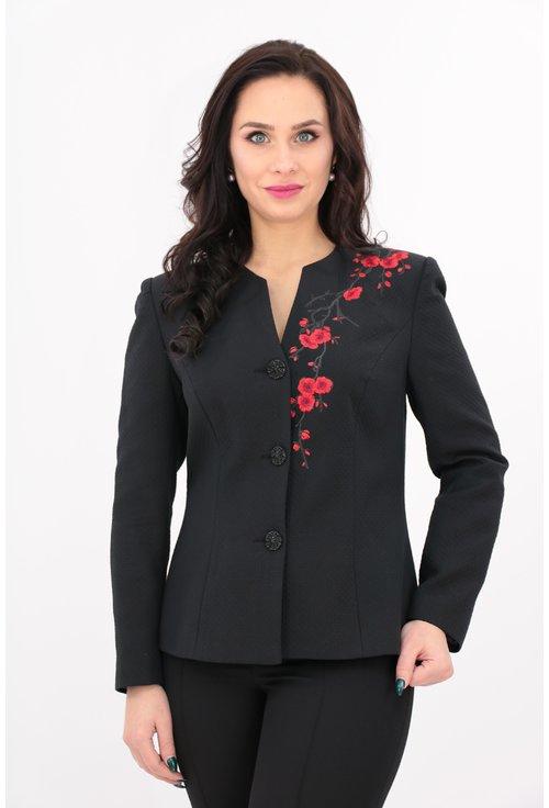 Sacou elegant negru cu broderie rosie