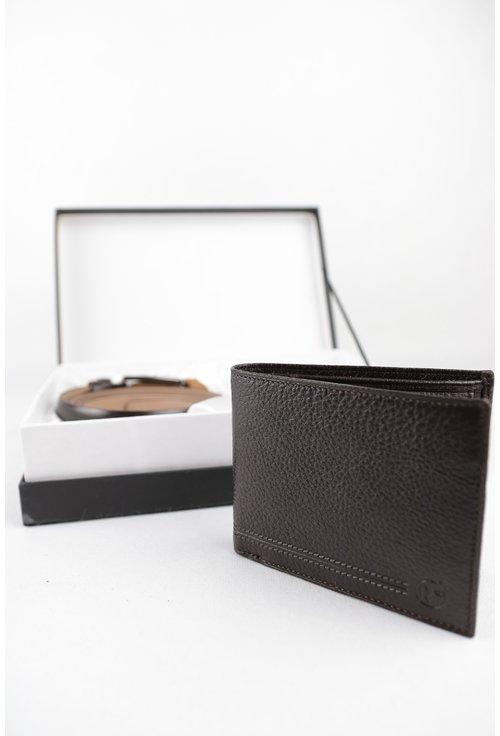 Set curea si portofel maro din piele texturata