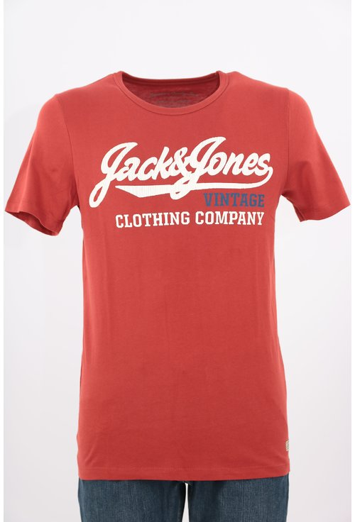 Tricou Jack&Jones caramiziu cu print text