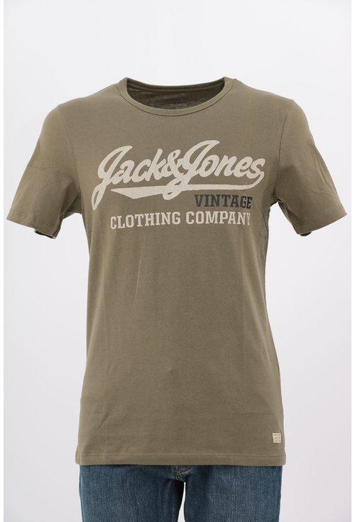 Tricou Jack&Jones kaki cu imprimeu text