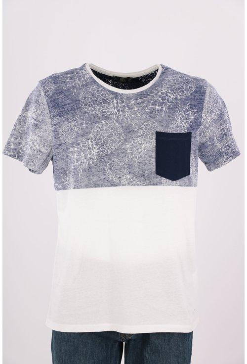Tricou Loft alb si bleu cu buzunar