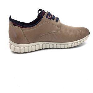 Pantofi sport  barbati din piele naturala, Leofex - 942  Taupe box