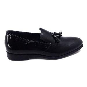 Pantofi barbati eleganti din piele naturala cu ciucuri, Leofex - 515 Negru Florantic