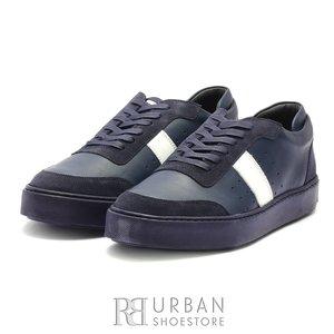 Pantofi barbati sport din piele naturala Leofex - 523 Blue Box Velur