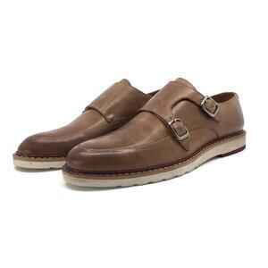 Pantofi casual barbati cu catarame din piele naturala, Leofex - 589 cognac box