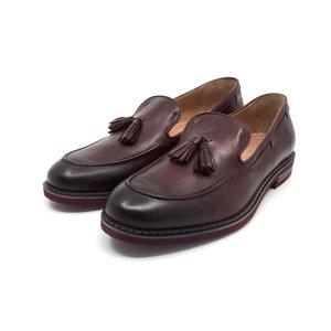 Pantofi casual barbati din piele naturala cu ciucuri, Leofex - 922 visiniu box