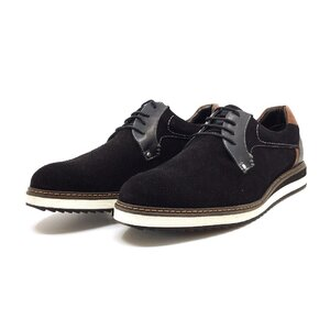 Pantofi casual barbati din piele naturala Leofex - 590  Negru velur