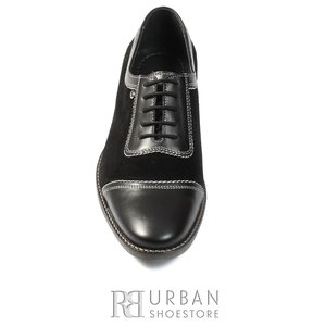 Pantofi casual barbati din piele naturala, Leofex - 698 negru box+velur