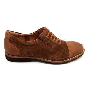 Pantofi casual barbati din piele naturala, Leofex - 783 Cognac Box Velur