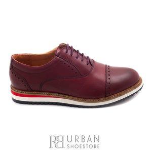 Pantofi casual barbati din piele naturala, Leofex - 818 visiniu box