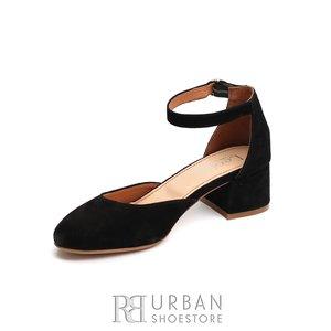 Pantofi casual cu toc dama de piele naturala, Leofex - 221 Negru Velur