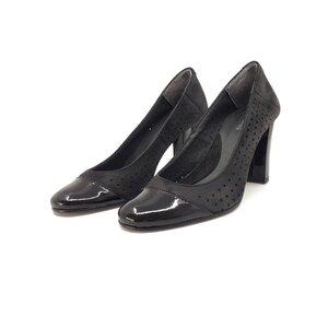 Pantofi  casual cu toc dama din piele naturala - 5 negru lac velur