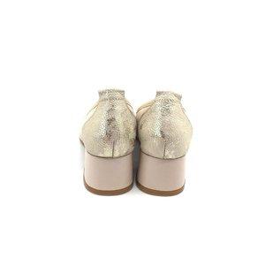 Pantofi casual cu toc dama din piele naturala, Leofex - 231 Bej Box