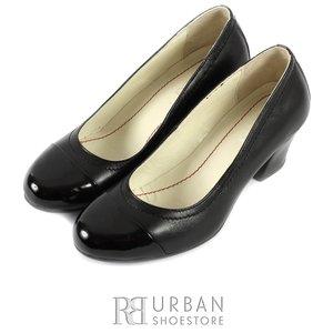 Pantofi casual cu toc dama din piele naturala, Leofex - 418 negru