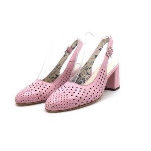 Pantofi casual cu toc dama, perforati si decupati la spate din piele naturala, Leofex - 247 Roz Box