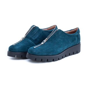 Pantofi casual dama cu fermoar din piele naturala,Leofex - 285 Avio velur