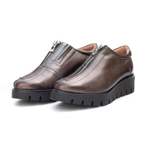 Pantofi casual dama cu fermoar din piele naturala,Leofex - 285 Bronz box