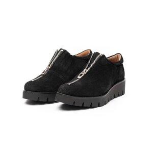Pantofi casual dama cu fermoar din piele naturala,Leofex - 285 Negru velur