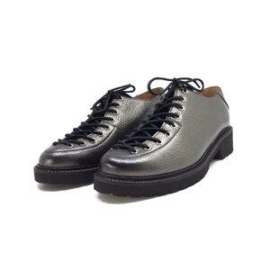Pantofi casual dama cu siret pana in varf din piele naturala,Leofex - 561 gri metalizat