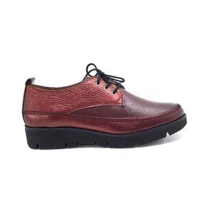 Pantofi casual dama din piele naturala,Leofex - 198 visiniu metalizat box